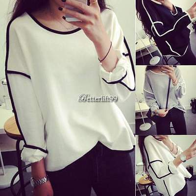 Women Round Neck Long Sleeve Geometric Pullover Jumper Loose Blouse Tops Sweater