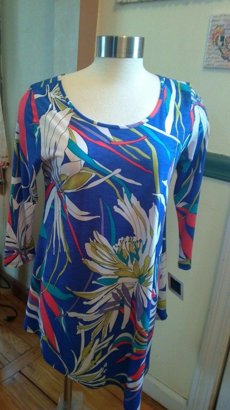 CLARA SUN WOO Tropical Floral Asymmetrical Tunic Top Größe  XS-NWT USA Made
