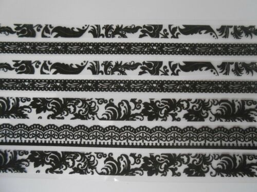 for cards and crafts **BARGAIN** Beautiful Black Lace Ribbon Stickers Set 8