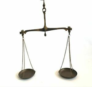 Antique-Small-Brass-Hanging-Equal-Arm-Balance-Scale-Apothecary-Money