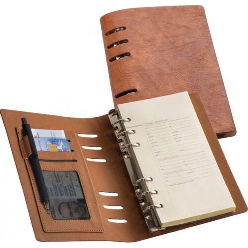 Edles Lederoptik Notizbuch mit vielen Extras Ringbuch NEU