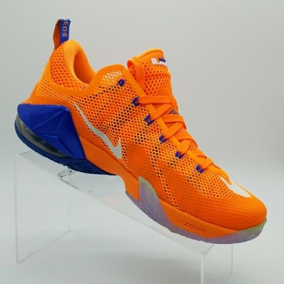 sneakers for cheap eba97 c5425 Nike Lebron XII Low Bright Citrus Blue NY Knicks 724557 838 NWT Mens Size 9