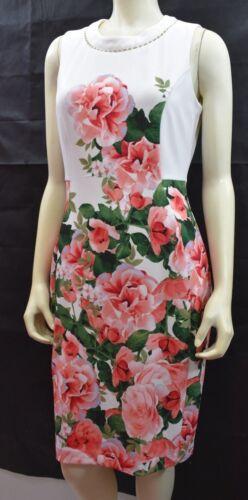 Imprimé Etiquettes Klein Calvin Fourreau Robe Floral Evec Neuf 12 f588qwxdv