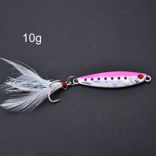 Metal jig fishing lure with feather 10g artificial bait freshwater jigg+q