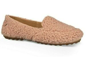 9247422d3bf Details about UGG Size 10 Hailey Fluff Genuine Shearling Driving Moccasin  Slipper Pink Loafer