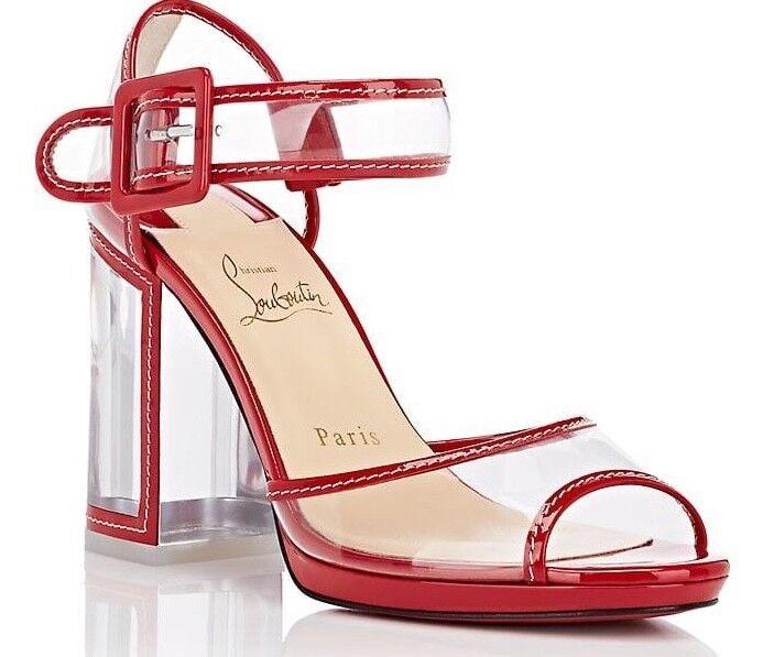 NB Christian Louboutin Barbaclara 100 rouge PVC Patent Clear Sandal Heel Pump 39.5