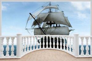 Huge-3D-Balcony-Pirate-Schooner-Ship-Wall-Stickers-Mural-Decal-499