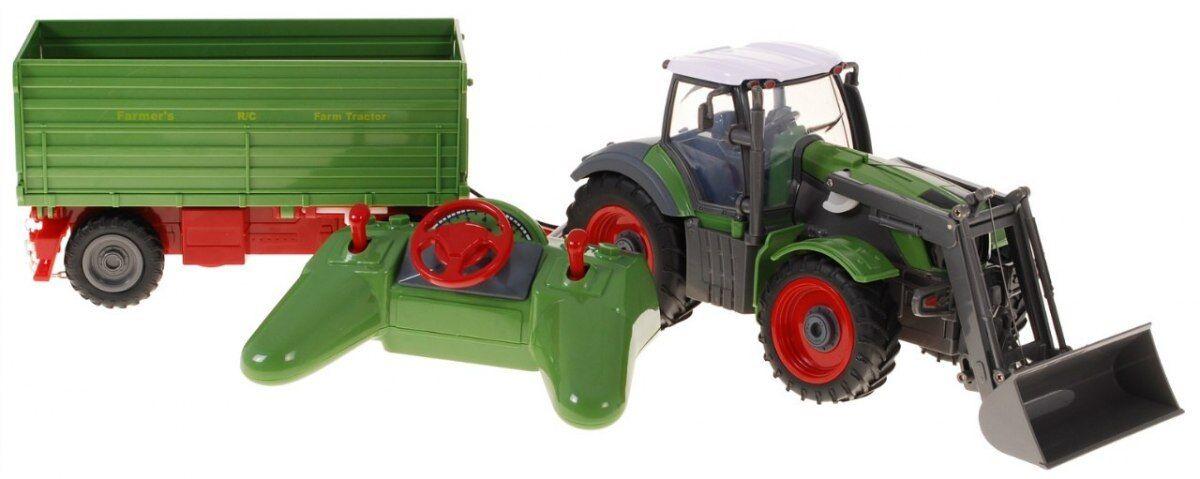 RC Bauer Traktor Tractor mit Anhänger Fernbedienung 1:28  Ferngesteuertes 54 cm