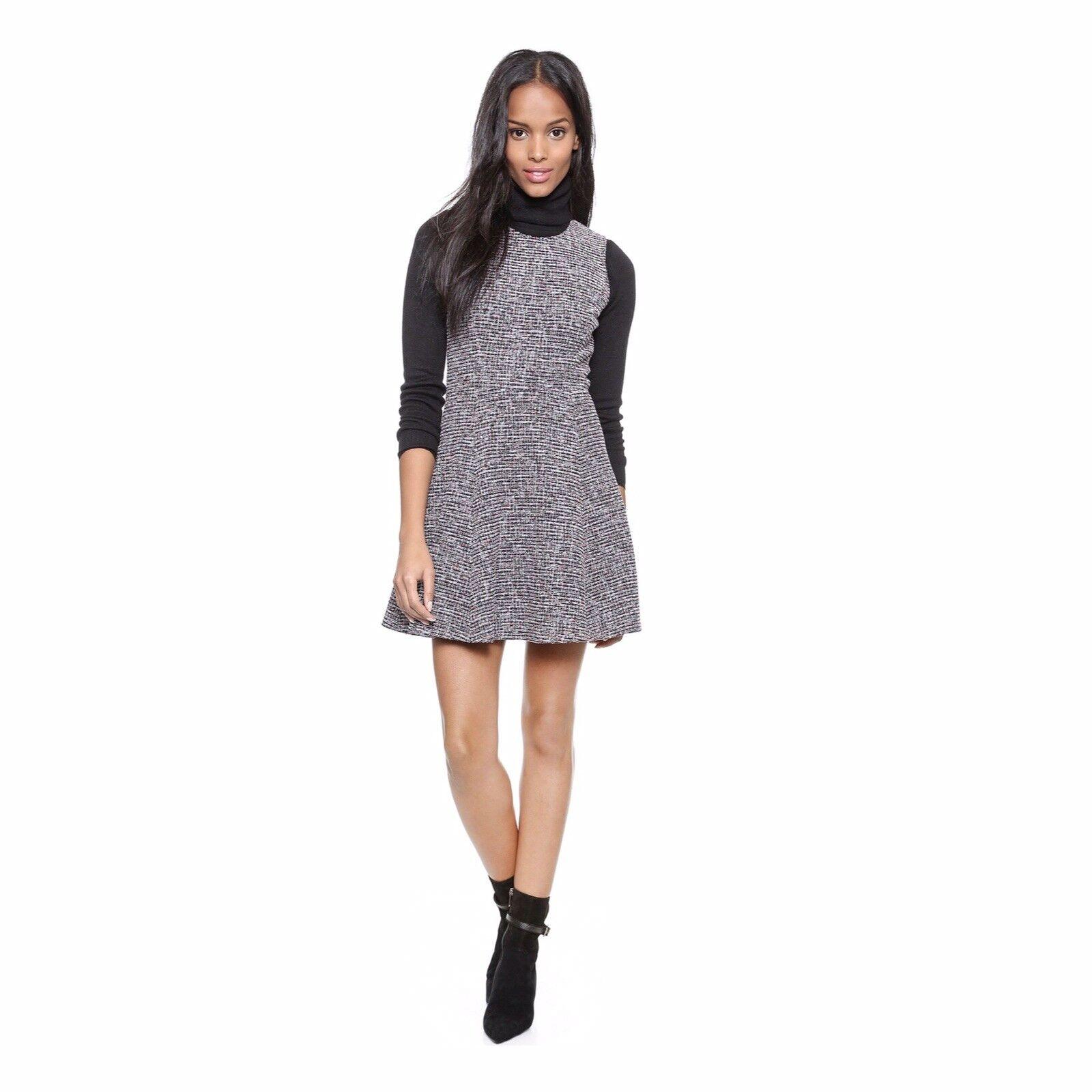 Theory Navy Blau Bkack Weiß And Metallic Tweed Mini Dress Größe 6