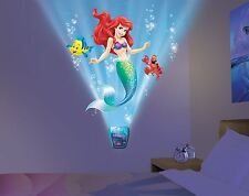 Little Mermaid Night Light Sound Kid Room Decor Wall Sticker Girl Ariel Mural 3D