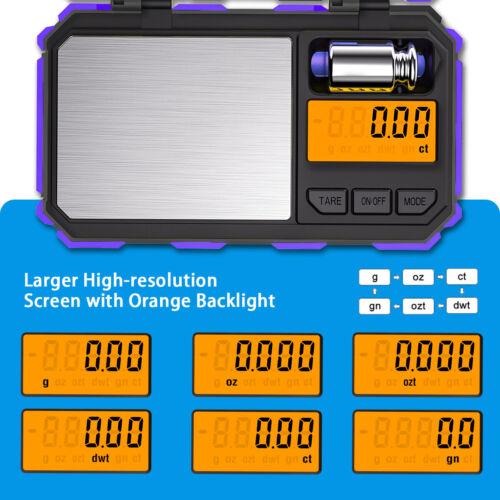Purple 0.01-200g Digital LCD Electronic Balance Jewlry Kitchen Food Weight Scale