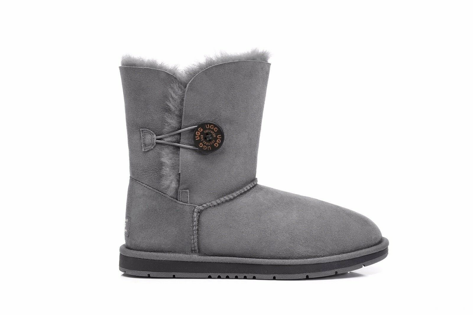 657ae9f4ed7 UGG BOOTS Short Classic With Crystal Button - Australian Sheepskin  Waterproof AU Ladies 9 / Men 7 / EU 40 Grey