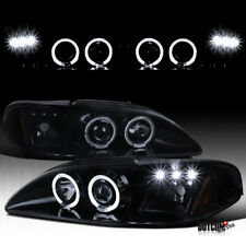 For 1994 1998 Ford Mustang Cobra Halo Led Full Black Smoke Projector Headlights Fits Mustang