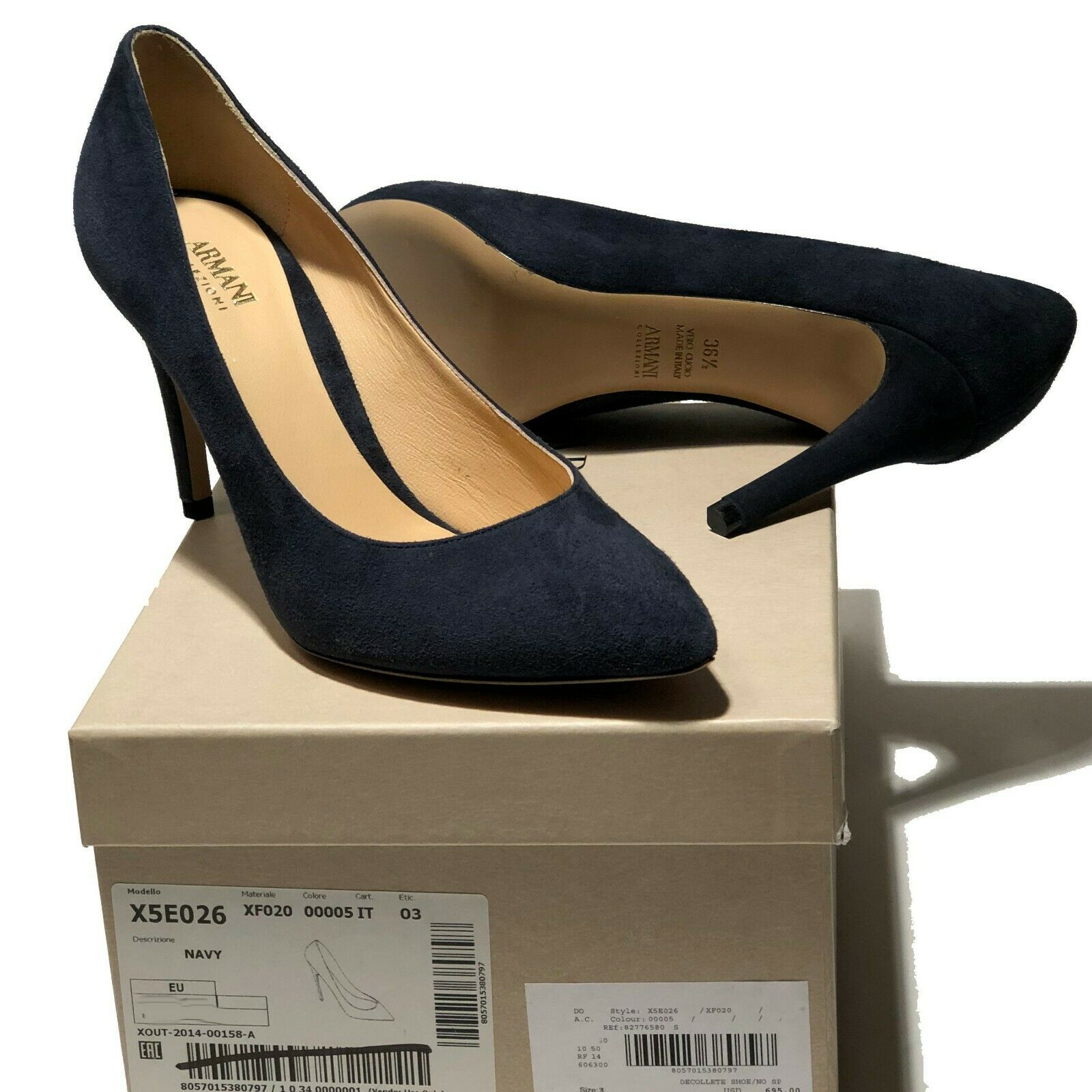 695 NEW Armani Women's Navy Suede Leather 6 36 Pointed Toe Stiletto Heels Pumps