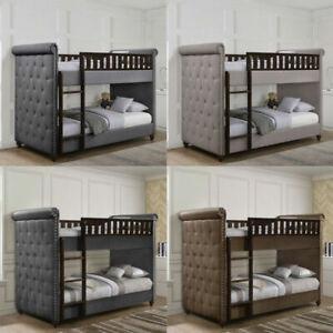 New-Children-039-s-Single-Linen-Velvet-Chesterfield-Upholstered-Bunk-Bed-amp-Mattress