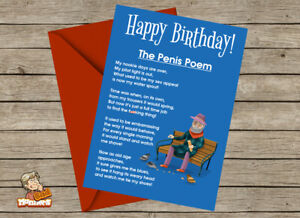 Details About Rude Funny Crude Naughty Birthday Card Penis Poem For OAP 60th 70th 80th