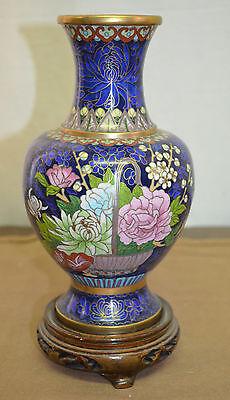 Antiques Logical N 3521s Pregiato Vaso Cinese Azzurro Con Base Cloisonne' Arte Orientale Vecchio