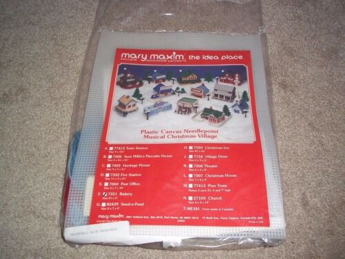 Mary Maxim Musical Christmas Village Plastic Canvas Needlepoint Bakery UO#7351