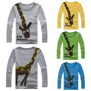 96fb70ff15 Cute Kids Boys Girl Giraffe Print T-Shirt Long Sleeve Tops Clothes ...