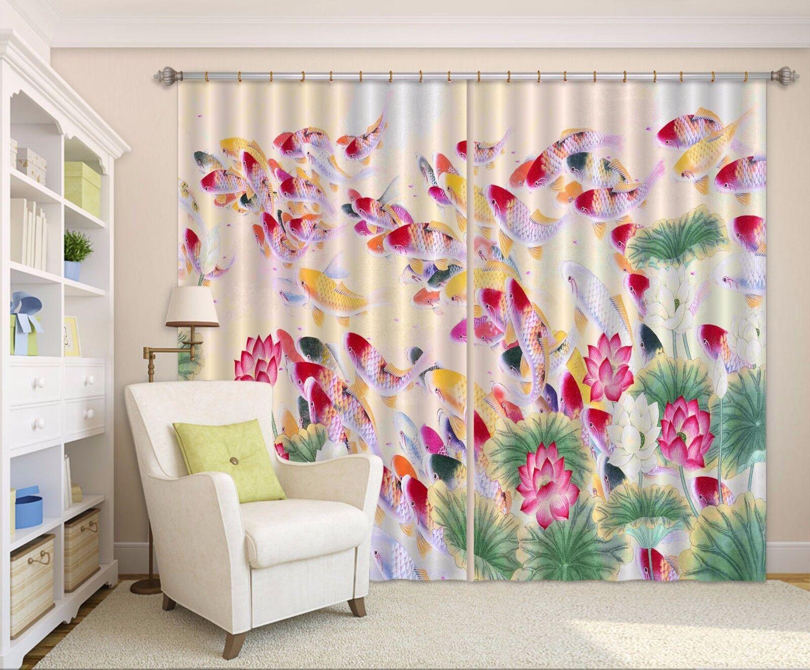 3D rojo Carp Lotus Pond 5 Blockout Photo Curtain Printing Drapes Fabric Window CA