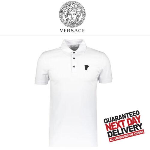 Polo Shirt Medusa White 00 Rrp Contrast £129 Medium Collar Versace HX6Ywq