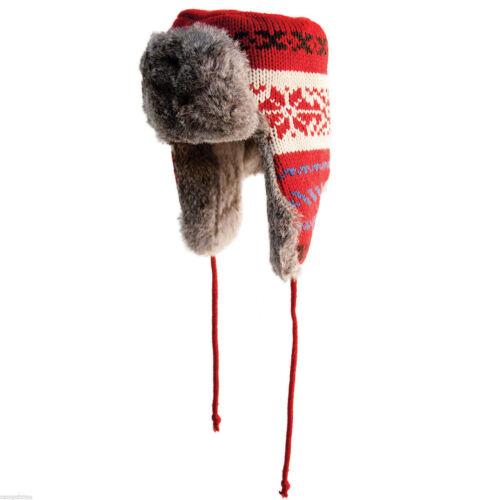 YUKON TRACKS ALASKAN GENUINE RABBIT RED KNIT FUR BOMBER HAT HG864//HG865//HG866