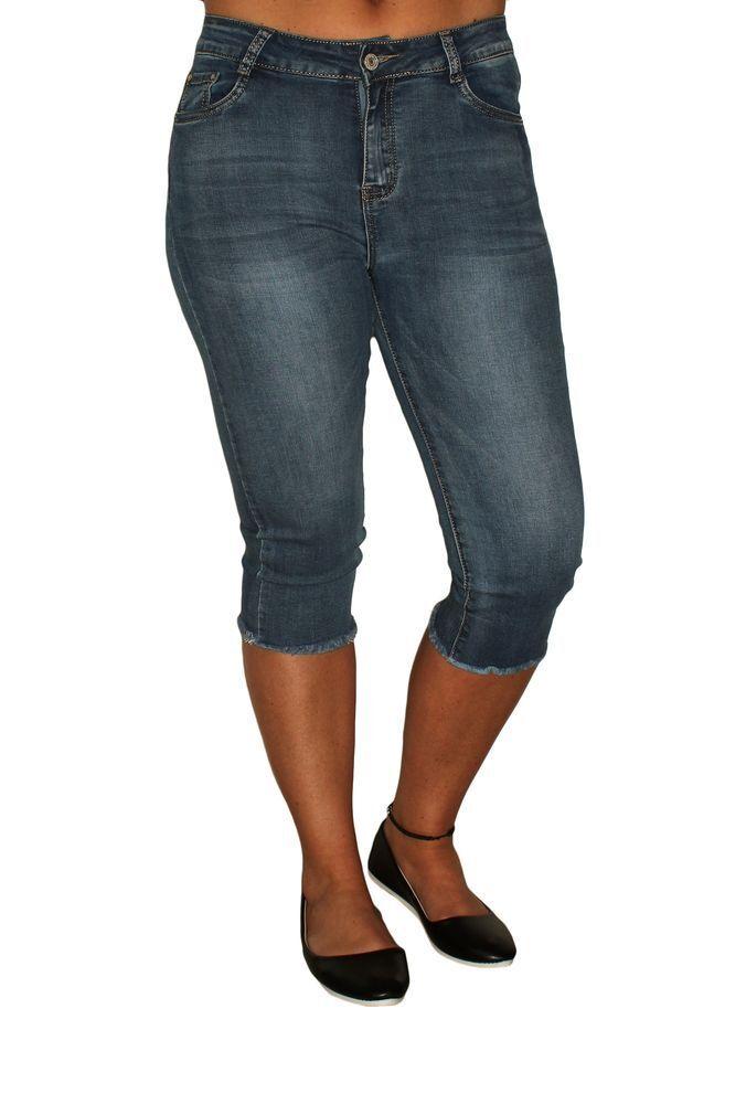 women 3 4 Vaqueros Blanqueado Stretch Corto Flecos Capri Pantalones Used Look