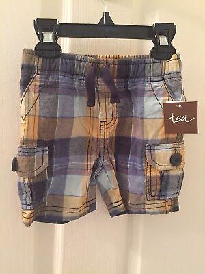 Boys' Clothing (newborn-5t) Analytical Tea Collection Plaid Kanawinka Cargo Baby Boy Shorts Size 3-6 Months Nwt