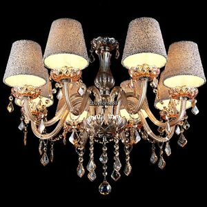 8 lights crystal chandelier with shades 10 bulbs ceiling fixture image is loading 8 lights crystal chandelier with shades 10 bulbs aloadofball Choice Image