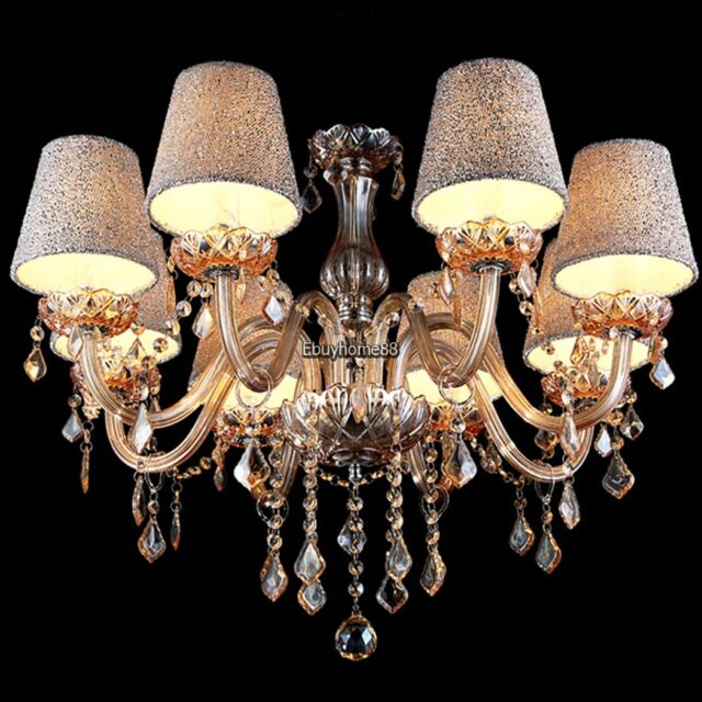 8 Lights Crystal Chandelier With Shades 10 Bulbs Ceiling Fixture Lighting