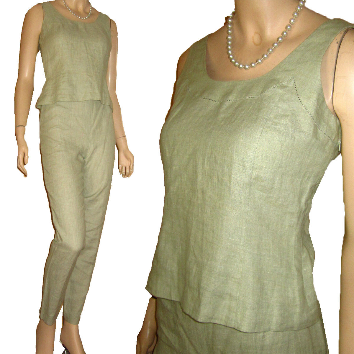 New  310 MAG MAGASCHONI - LINEN PANT SUIT Sz 2 SAGE Ensemble Set Outfit
