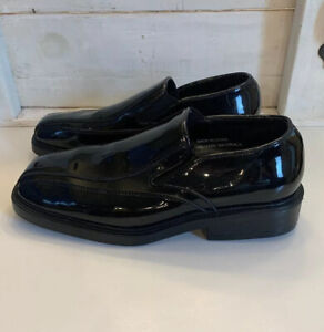 After-Six-Formal-Black-High-Gloss-Patent-Vinyl-Uniform-Formal-Shoes-Mens-Sz-9-5