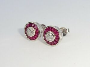 Ladies Art Deco Halo Design 925 Sterling Silver Ruby /& White Sapphire Earrings