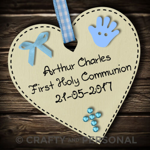 Personalised 1st First Holy Communion gift plaque wooden heart keepsake present