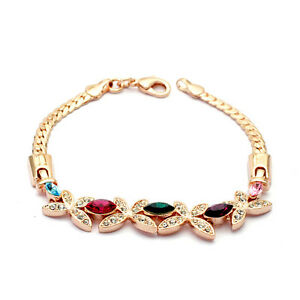 GORGEOUS-18K-ROSE-GOLD-PLATED-amp-GENUINE-CUBIC-ZIRCONIA-BUTTERFLY-BRACELET