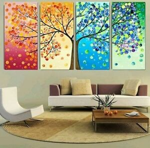 Image Is Loading Chop124 100 Hand Painted Four Seasons Trees Oil