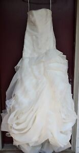 Details About Vera Wang White Strapless Organza Wedding Dress Gown Vw351011 Size 6 Women S