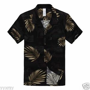 Men-Aloha-Shirt-Cruise-Tropical-Luau-Beach-Hawaiian-Party-Black-Gold-Leaves