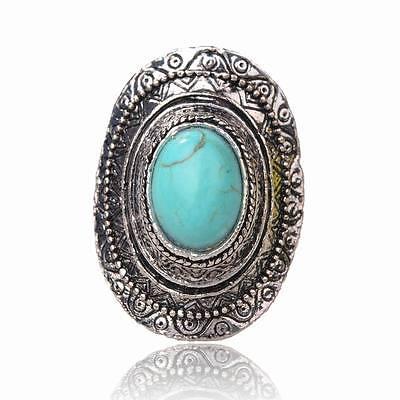 Vintage Oval Genuine Turquoise Carved Cameo Statement Adjustable Finger Ring