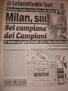Gazzetta-Dello-Sport-25-5-1989-Milan-Muestra-D-039-Europa-AC-Milan-Steaua