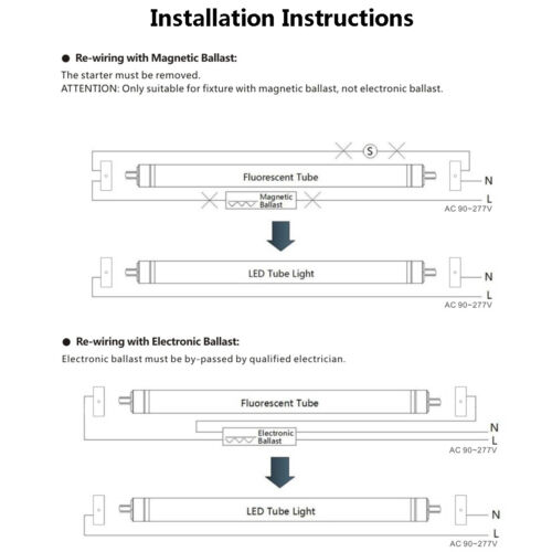 5000K Daylight T8 FA8 8FT Single Pin LED Tube Light Fixture 8/' Stock Clearance