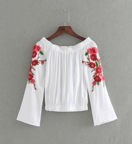 Maglia Manica Ricamata Spalle Scoperte Donna Woman Long Sleeve T-shirt 561047 P