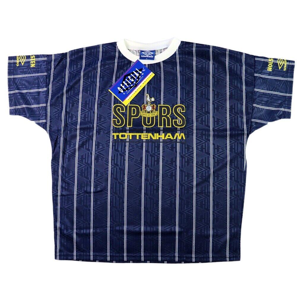 1991-93 Tottenham Maglia Allenamannento XL Nuova con Autotellini SHIR MAILLOT TRI