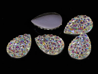 MG1- 10*14mm Pear Rhinestone DIAMANTE Flat Back Faceted AB CLEAR Resin Moon Gems