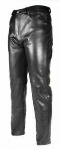 Men-039-s-Black-Real-Leather-Motorcycle-Biker-Jeans-Trouser-BLUF-Breeches-Lederhosen