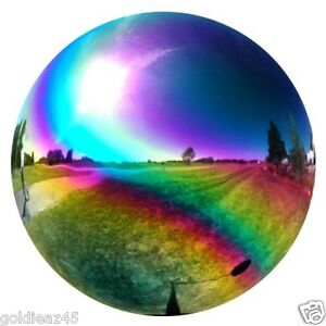 Ornaments gt see more 6 quot stainless steel rainbow mystic gazing globe