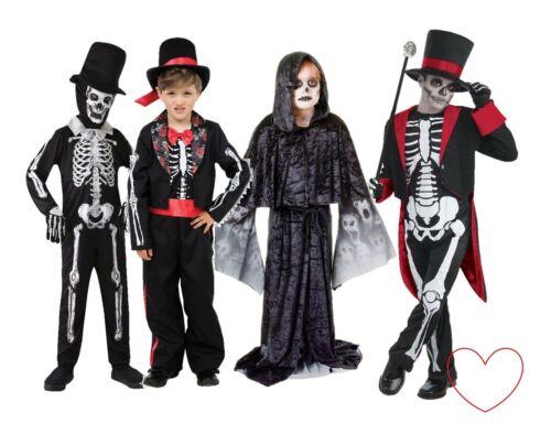 Boys Halloween Costume Skeleton Suit Day Of The Dead Groom Fancy Dress Kids