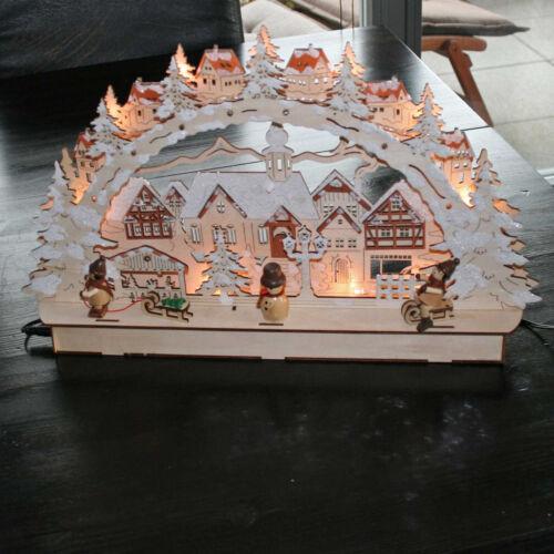"3D LED Holz-Leuchter Schwibbogen Lichterbogen /""Stadt mit Winterkindern/"" Holz"