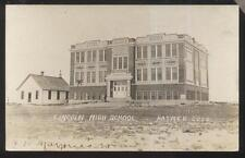 REAL PHOTO POSTCARD RAYMER CO/COLORADO LINCOLN HIGH SCHOOL & OLD ONE ROOM
