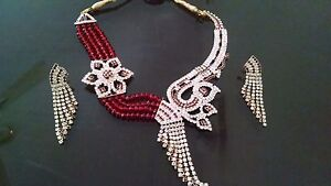 Indian-Exclusive-Artistic-Red-Crystal-Rhinestone-Party-Necklace-Jewelry-Set